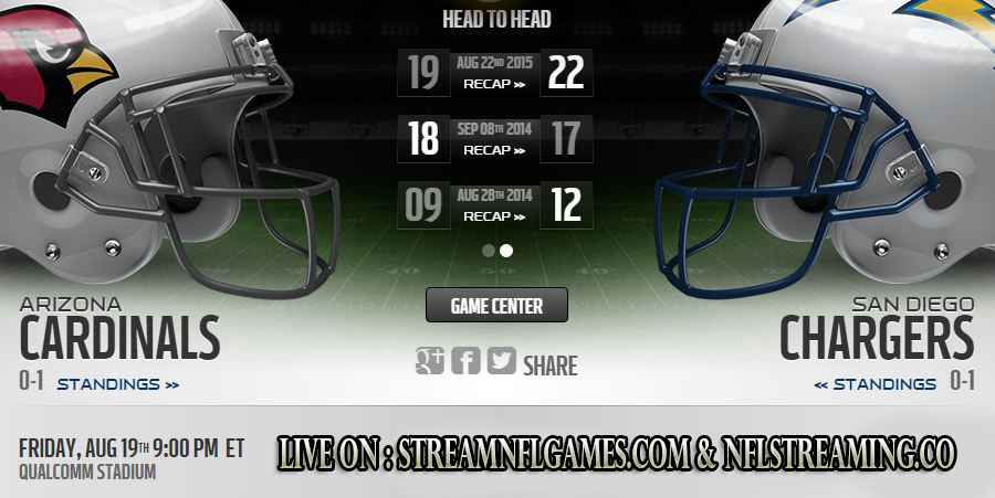 San Diego Chargers vs Arizona Cardinals live stream