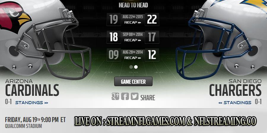 San Diego Chargers vs Arizona Cardinals live stream