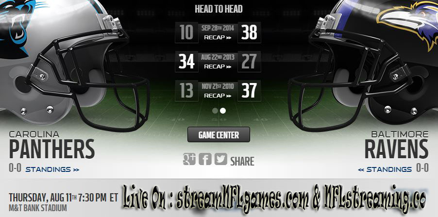 ravens vs panthers game live stream