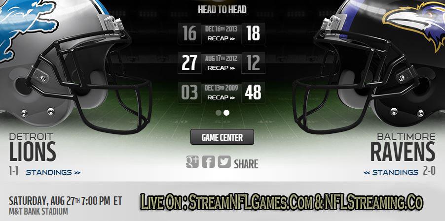 Lions vs Ravens live stream