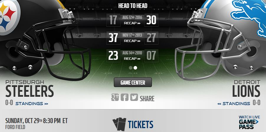 Detroit Lions vs Pittsburgh Steelers Live Stream