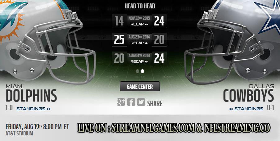 Dallas Cowboys vs Miami Dolphins live stream
