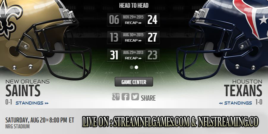 Saints vs Texans live stream
