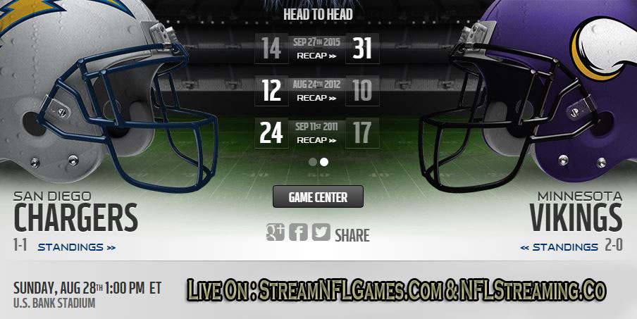 Chargers vs Vikings live stream