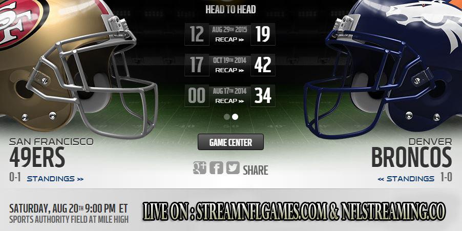 Broncos vs 49ers live stream