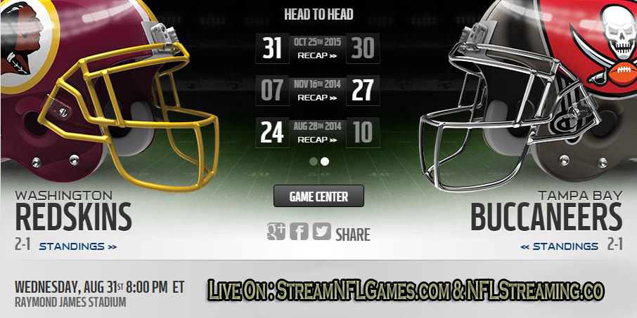 Redskins vs Buccaneers live stream