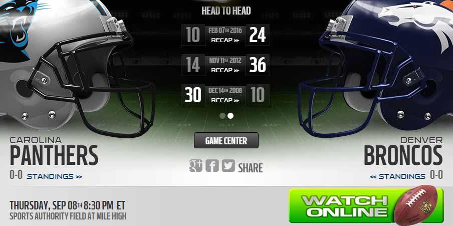 Broncos vs Panthers live stream