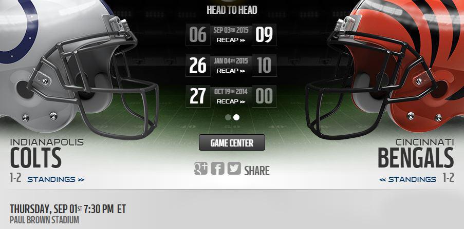 Bengals vs Colts live stream