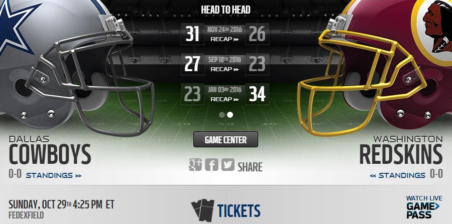 Cowboys vs Redskins Live Stream