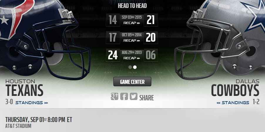 Cowboys vs Texans live stream