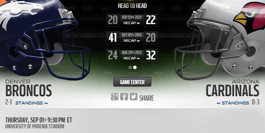 Denver Broncos vs Arizona Cardinals