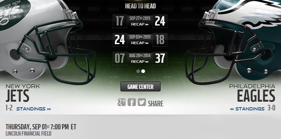 Jets vs Eagles live stream