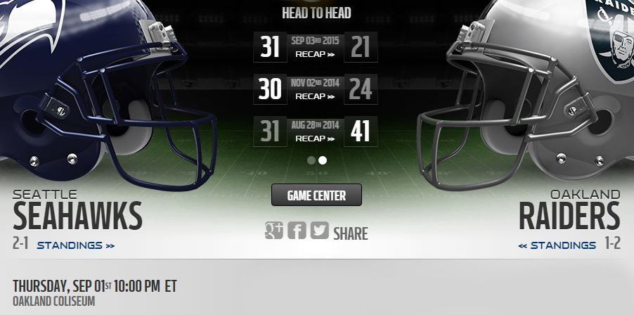 Oakland Raiders vs Seattle Seahawks