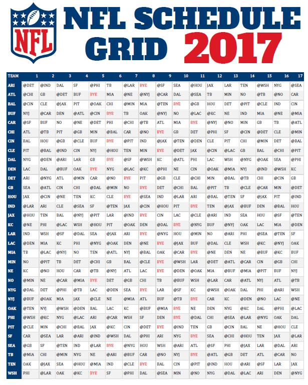 NFL schedule 2017